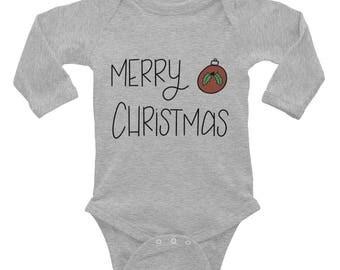 Infant Merry Christmas Long Sleeve Bodysuit