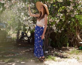 Floral Print Vintage Wrap Maxi Skirt