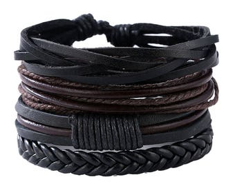 BLACK and BROWN Men's Leather Bracelets. 4 Bracelets. Wrap Leather Bracelets. Multi-Layer Men Bracelets. FREE Shipping in the U.S.