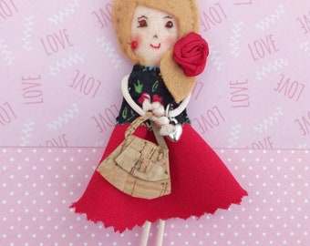 Fabric brooch doll, miniature doll pin, pioneer school gift, convention gift, fabric brooch red, gift for her, mother gift, handmade doll