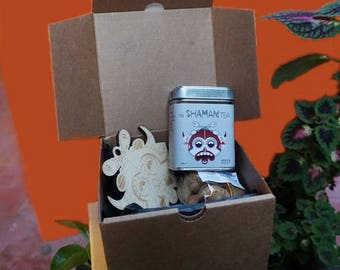 Masala Chai Gift Box, Gift Set Black Tea With Spices, Wooden Laser Cut Coaster, Spicy Chai Cookies, Chai Soap Flakes Tin, Gift For Hostess,