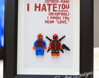 Spider-man, Lego, Superhero, gift, daddy, gift for him, lego minifigures, for valentine, father's day, anniversary, birthday inspired by LEG
