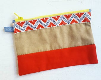 Hand-Stitched Colorblock Patchwork Bag in Bold Colors with Wide Trim