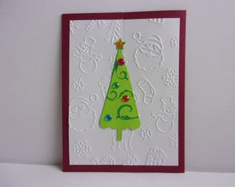Handmade Christmas Card-Christmas tree with embossing & jewels
