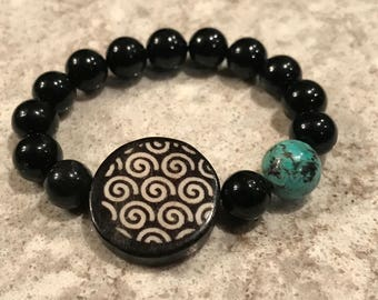 Onyx, with Turquoise Accent bead