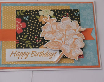 Orange flowered Birthday Card