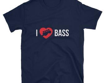 T-shirt for Bass Guitar Lovers, I Love Bass Guitar T-shirt, Gift for a Musician