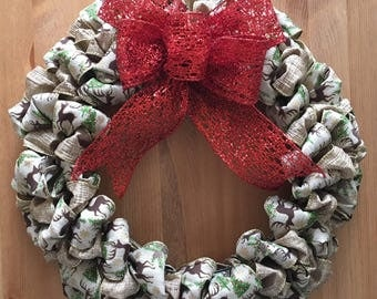 Holiday wreath, reindeer, Christmas, red bow