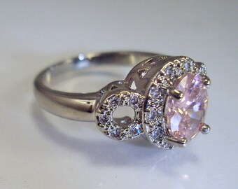 Gorgeous Large Size 18k Gold Plated Sterling Silver Lab Pink and White Sapphire sz 9.5