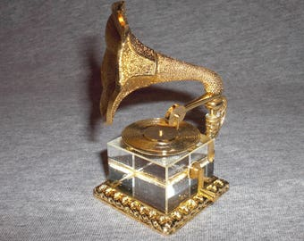 Record Player - miniature collectible crystal figurine