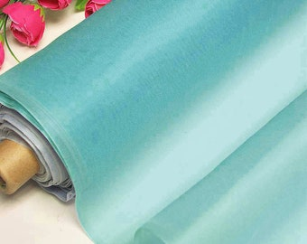 100% Real Silk Organza Fabric Misty Turquoise Blue Natural Silk Material for Wedding Bridal Dress (yza11026 X Yards /Meter or samples)Online