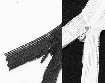 "Black White Off White 16"" inches 40cm invisible nylon hidden zipper zips zip close end doe closure (yinsin- zip-16in-beige)"