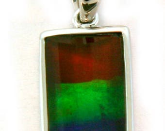 Rainbow Color Canadian Ammoloite 14k White Gold Pendant