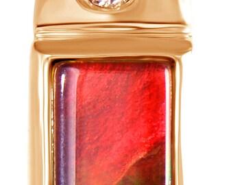 AAA Canadian Ammolite Pendant set on 14K Rose Gold.