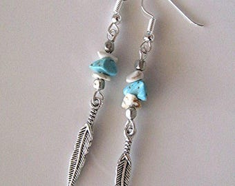 Turquoise earrings feather charm earrings turquoise gemstone earrings boho earrings hippie earrings dangle earrings silver earrings gift.