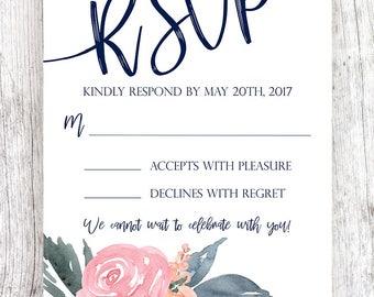 Burgundy Blush Floral Wreath Wedding RSVP - Customized & Printable
