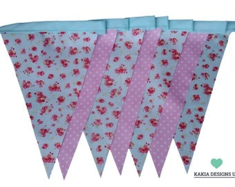 Mint Green Floral and Pink Spotty Single Sided Easter Bunting Available in Various Lengths