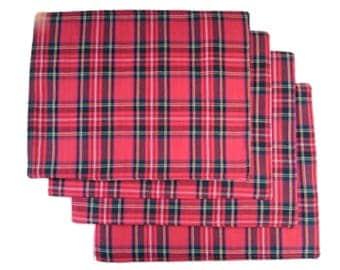 Royal Strewart Tartan Red Cotton Table Place Mats - Set of 4