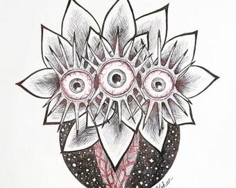 Flowery Friend (Original Drawing)