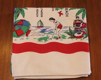 Vintage Florida Map Souvenir Tablecloth, Pre-Disney, by Belcrest, 1940s
