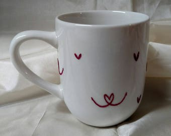 Heart ceramic stoneware coffee tea mug