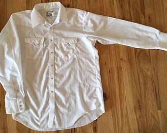 Vintage H BarC California Ranchwear White Dressy Men's Western Shirt