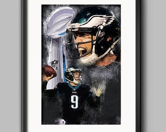 Nick Foles poster - Super Bowl 52 MVP - Super Bowl LII - Philadelphia Eagles - Carson Wentz - NFL art - Man Cave - Football