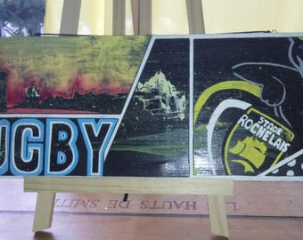 """""""Pop rugby"""" decor on wood"""