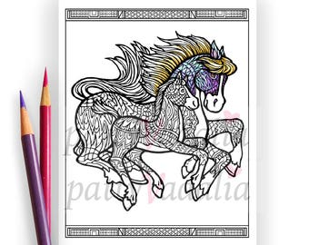 Horse. Mare and Foal. Coloring. Coloring Page. Horse Coloring Page. Coloring Pages for Adults. Printables. Instant Download.