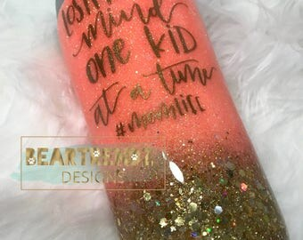 Peach and Gold Glitter Dipped Stainless Steel Tumbler Cup