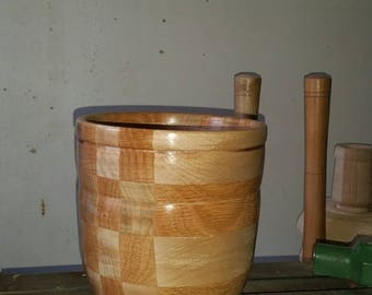 Wood bowl, food safe, red oak and maple