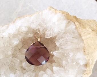 25mm Amethyst Quartz dangle, Amethyst Quartz pendant, gold fill, purple dangle, purple pendant, February birthstone, February birthday