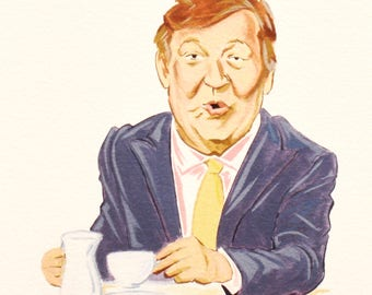 STEPHEN FRY, QI, Quite Interesting, Celebrity Portrait, Tv Show Art, Caricature, Giclee, Limited Edition Fine Art Print.