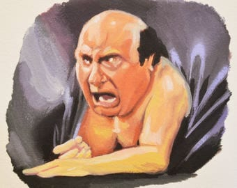 FRANK REYNOLDS, Danny Devito, Always Sunny, Is There a Man in that Couch?, Giclee Fine Art Print of Original Gouache Painting