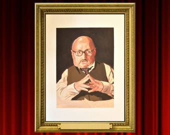 TWIN PEAKS, Clark Middleton, Charlie, Audrey's Husband, Celebrity Portrait, Glen the Blacklist, TV Show Art, Print of Gouache Painting