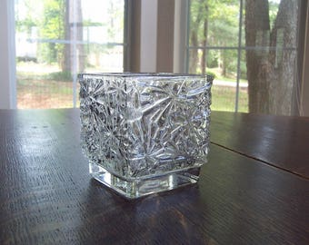 Vintage Avon 1990 clear square crystal glass candle holder