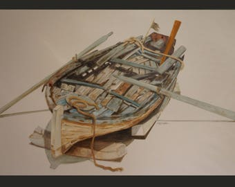 "WOODEN BOAT"", 140x85cm, Oil on Canvas"
