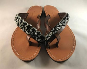 "Niko & Alexander"" Luxury Greek Handmade Embroidered Leather Sandals Model ""Elena"""