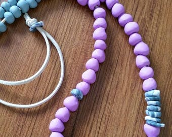 Handmade beaded necklace - Modern necklace - Long necklace - Lilac Statement necklace - Minimalist necklace - Polymer clay jewelry