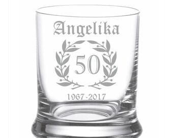 "Leonardo Whisky glass engraving engraved individually ""laurel wreath"" Wish name whiskey Glass whiskey"