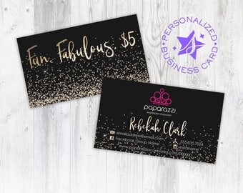 Paparazzi Business Card, Personalized Business Card, Independent Consultant Card, Custom Paparazzi Accessories Business Card, Gold & Black