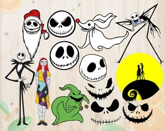 The Nightmare Before Christmas Svg, Jack skellington Cutfiles: Svg, Dxf, Eps, Png files, Zero the dog and Sally svg for Cricut, Silhouette.
