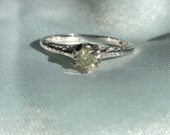 Champagne Diamond and 10kt  White Gold Ring