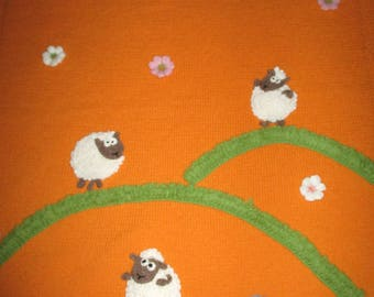 "Hand knitted baby blanket ""Funny sheep"", wool baby blanket, new baby gift, Easter gift, Easter bunny"