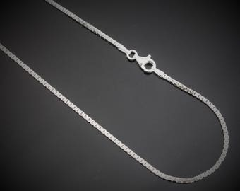 Sterling Silver Box Chain 1.6mm Necklace. 16,18,20,22,24,30 Inches Available
