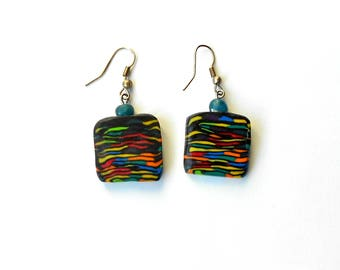 Colorful earrings ,Black earrings ,Yellow earrings ,Orange earrings, Red earrings, Square earrings