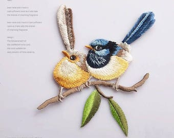 Iron on patch,sew on patch,embroidered bird patches,patches for jackets,animal patch,christmas gifts,cute patch
