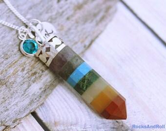 Chakra Necklace | Chakras Necklace | Chakra Point Necklace | 7 Chakras | Chakra Gemstone | Chakra Jewelry | Silver Chakra Necklace