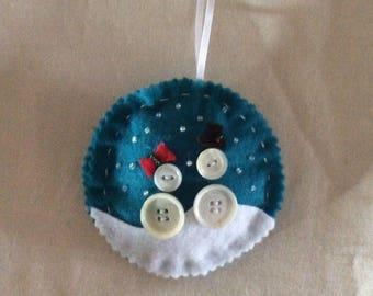 Felt/button Snowmen Ornament