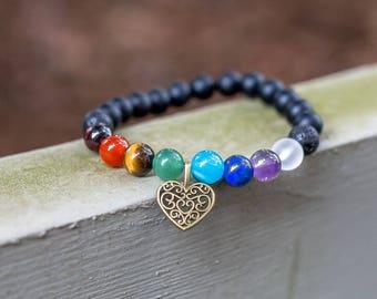 Vintage Heart Charm 7 Chakra Essential Oil Bracelet Healing Amethyst Lapis Lazuli